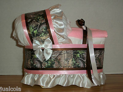 Pink Hunting Camo Camouflage Girl Diaper Bassinet Baby Shower Table Centerpiece
