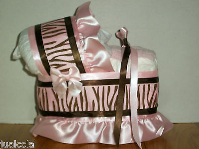 Beautiful Pink Brown Zebra Girl Diaper Bassinet Carriage Baby Shower Decoration