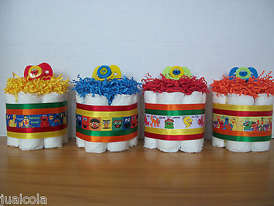 4 Sesame Street Mini Diaper Cakes Baby Shower Table Decoration