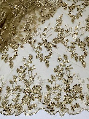 """Gold Mesh W/embroidery Pearl Beaded Sequins Bridal Lace Fabric 52"""" Wide 1 Yd"""
