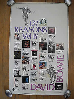 "DAVID BOWIE - ""137 Reasons Why"" - 1980 POSTER (27""x17"") - PROMO ONLY - RARE!!"