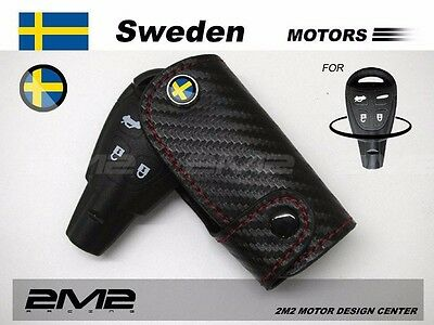 Leather Key fob Holder Case Chain Cover FIT For SAAB 93 95 9-3 9-5 convertible