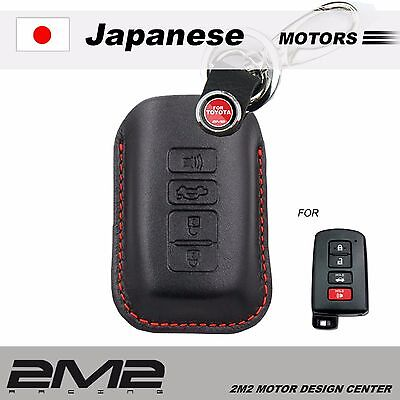 Leather Key fob Holder Case Chain Cover FIT For TOYOTA WISH CAMRY ALTIS Z TO068K