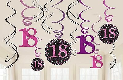12 x 18TH BIRTHDAY HANGING PARTY SWIRLS PINK & BLACK DECORATIONS AGE 18