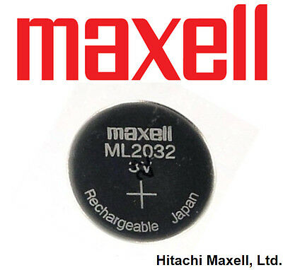 1x Maxell 3V ML2032 LIR2032 Lithium Rechargeable CMOS Battery (Loose)