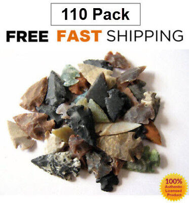 110 Pcs Lot Of Arrowheads Agate Spearhead Hunting Flint Stone Collection, Large