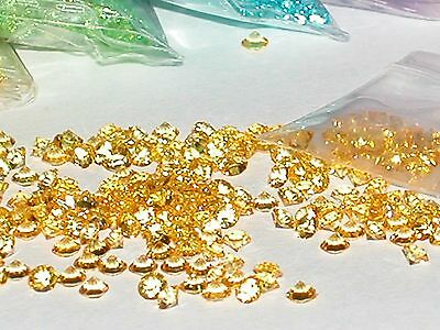30pc Fun tiny little Crystals rhinestone gems bottle sold separate 3mm Yellow