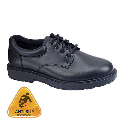 mens oxford work shoe black SLIP RESISTANT non-skid casual shoe safetrax kato