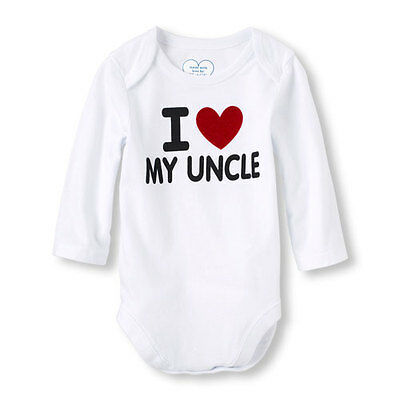 I Love My Uncle White Cotton Baby Boy Girl Bodysuit Romper One Piece 0-3 Months