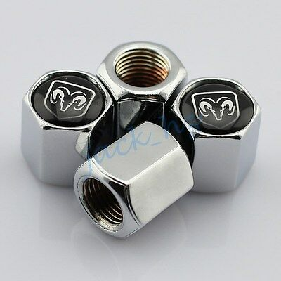 For Dodge Ram Accessories Air Dust Wheels Tyre Valve Caps Decorate Sliver Style