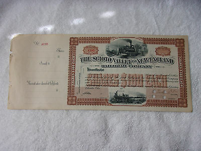 1800's The Scioto Valley And New England Railroad Company Stock Certificate