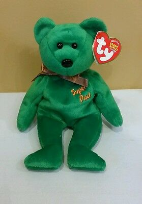 Ty BEANIE BABY DAD-e 2004, SUPER DAD BEAR DOB 6-20-04 tush tag 2003, Retired/New