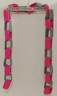 Brand New Handcrafted Crochet Hot Pink and Gray Chain Scarf