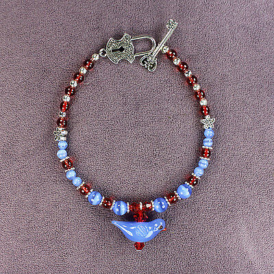 BLUEBIRD KEY TO HAPPINESS BRACELET 3D Lampwork Bird Charm Catseye Beads Blue Red