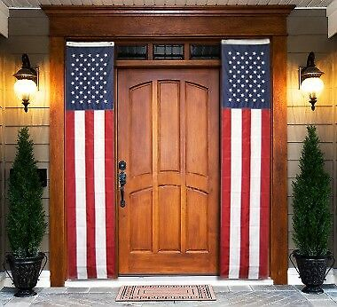 American 8ft x 20in Pull Down Flag Nylon Sewn Stripes EMBROIDERED STARS USA