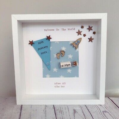 💙Personalised New Baby, Birth, Christening, Boy & Girl Framed Gift/Keepsake