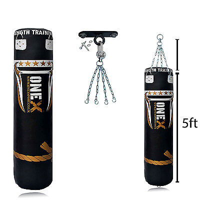 A Kick Boxing A Leather Heavy Duty Filled Punch Bag Hook,Chain,MMA, Arts Set