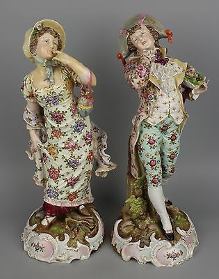 "Antique 19C large 14"" Dresden Volkstedt couple of figurines WorldWide"