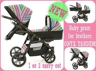 Baby Pram for brothers  ONYX TANDEM + 1 or 2 carry cot!