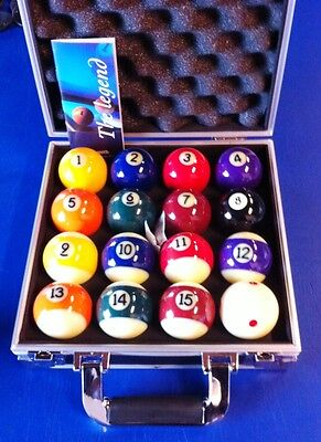 Pool Balls Aramith American Size Spots and Stripes in Aluminium Carry Case