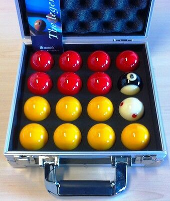 Pool Balls Aramith 2 Inch Red and Yellows in Aluminium Carry Case