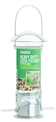 Gardman Heavy Duty Polished Aluminium Seed Feeder Easy Fill, Clean Feeder A01043
