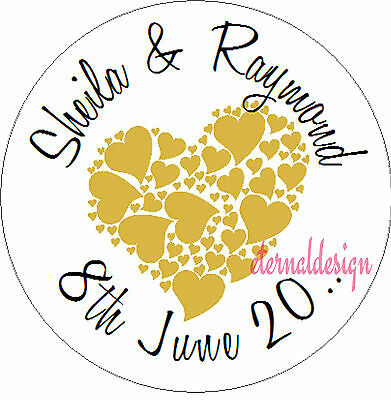 Personalised Wedding Day Circle Stickers Seals Love Heart  Design
