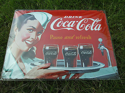 Blechschild Coca-Cola - Waitress 30 x 40cm  Werbung  Pause and refresh