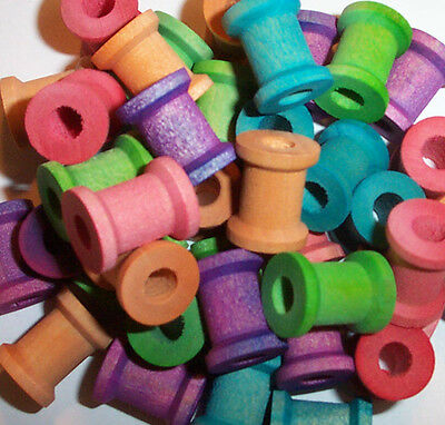 """25 Bird Toy Parts small 5/8"""" Colored Wood Spools Wooden Bead Parrot Toy W/ Hole"""