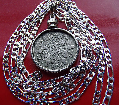 """SILVER ENGLISH PRE 1936 Authentic SIXPENCE on a 30""""- 76cm .925 SILVER CHAIN"""
