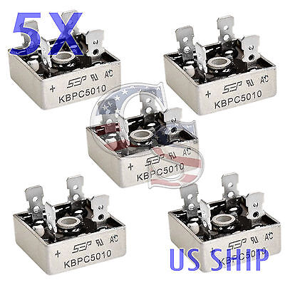 5X 5 PCS 50A 1000V Metal Case Single Phases Diode Bridge Rectifier KBPC5010