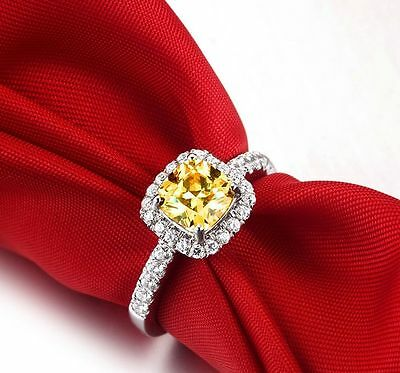 2CT 925 Sterling Silver CZ Princess Cut Halo Engagement Ring Citron Square