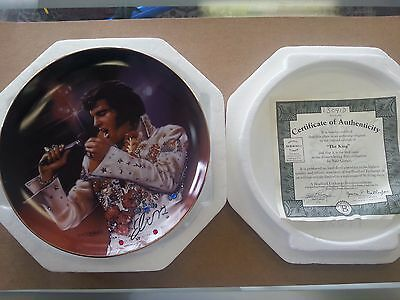 """The King by Artist Nate Giorgio Collectible 8"""" Plate COA 22k gold plated trim"""