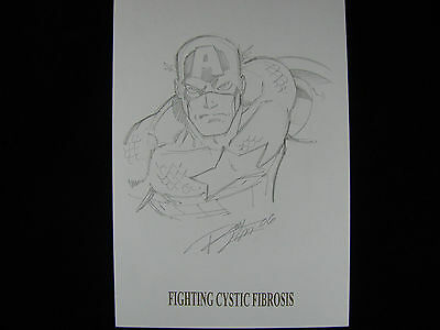 Original Comic Art Pencil Drawing Captain America Ron Lim Signed Dated AVENGERS