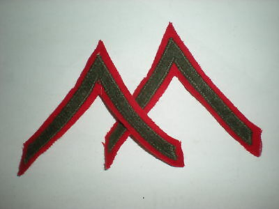 Usmc Wwii Pfc Rank - Green On Red - Mint! 1 Pair.