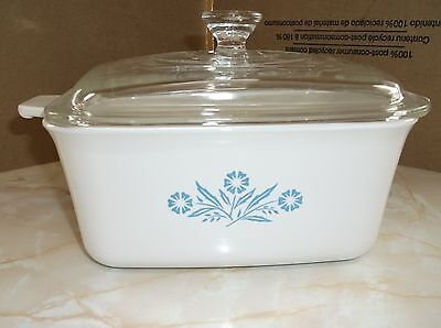 Corning P-4-B Blue Cornflower Meat Loaf Pan Casserole Dish Glass A-3 LID