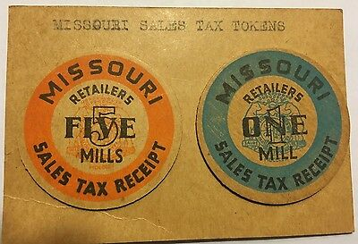 Two Antique Missouri Retailers 5 Mills & 1 Mill Sales Tax Receipt Tokens