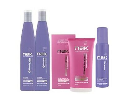 NAK Blonde PLUS Shampoo & Conditioner + Ultimate Treatment and 10v Toning Foam