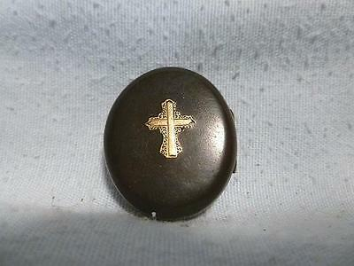 Antique Victorian Gutta Percha Mourning Locket with Cross & Two Tintype Photos