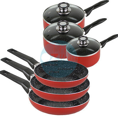 9pcs Marble Stone Red Ceramic Pot /  Pan Set Cookware Induction Non Stick
