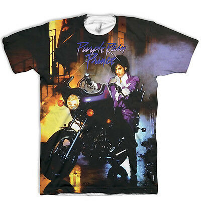 Limited Edition All Over Print Prince RIP T-Shirt Purple Rain Printed Both Sides
