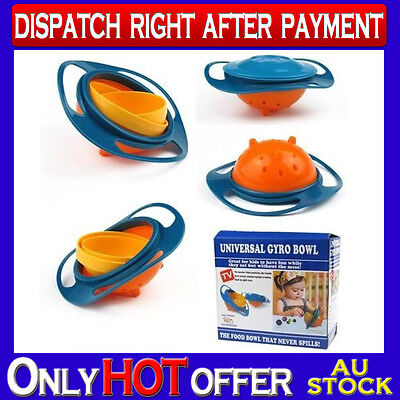 Toddler Universal Gyro Bowl Feeding 360 Rotating Baby Kids Avoid Spilling