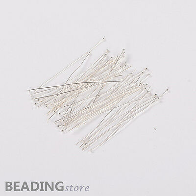 50pcs Silver Plated DIY Jewelry Brass Ball Headpins for Crafting Making 0.5x50mm