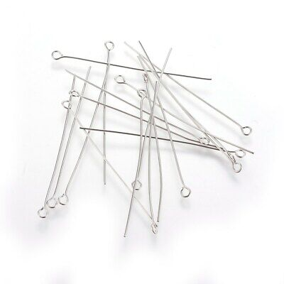 100pcs Stainless Steel Eyepins DIY Jewellery Making Fidnings 50mm