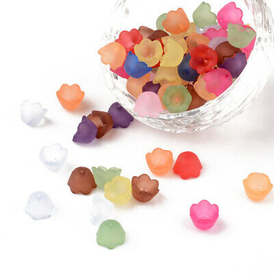 100pcs Mixed Frosted Acrylic Flower Bead Caps DIY Jewellery Making 10x6mm