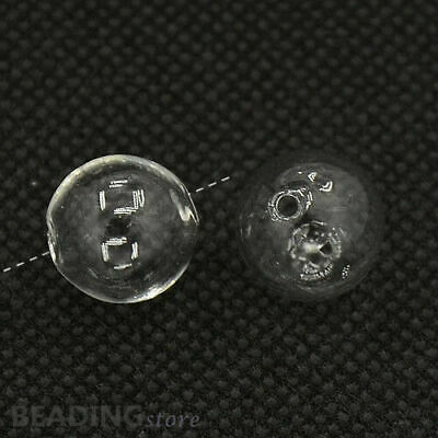 100pcs DIY 13mm Clear Round Handmade Blown Glass Globe Beads with two holes