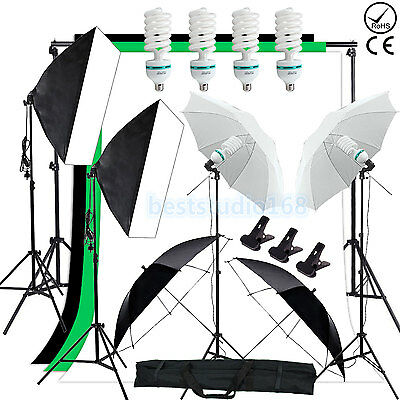 Photo Studio Softbox Backdrop Umbrella Lighting Kit + Background Support Stand