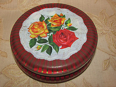Vintage Collectable 6MB '' Roses  '' Container / Tin