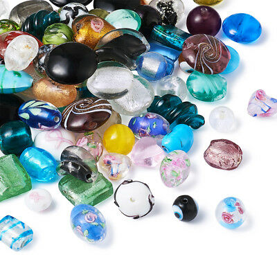 200pcs Assorted Shapes Handmade Lampwork Beads Mixed Color 4~20x4~20mm