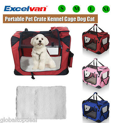 Portable Soft Pet Crate Kennel Cage Travel Carrier House Dog Cat Fabric S/M/L/XL